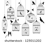 Stock vector birds and birdcages collection 125011202