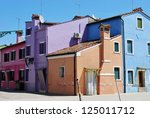 Typical colorful houses in Burano Island, Venice, Italy - stock photo