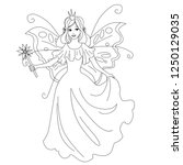 Stock vector magic fairy princess isolated illustration vector coloring page for kids 1250129035