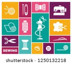 sewing and needlework icons in... | Shutterstock .eps vector #1250132218