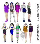 sketch. fashion girls on a...   Shutterstock . vector #1250140405