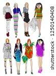 sketch. fashion girls on a...   Shutterstock . vector #1250140408