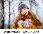 winter young woman portrait.... | Shutterstock . vector #1250149045