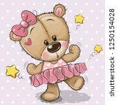 cute cartoon teddy bear... | Shutterstock .eps vector #1250154028