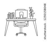 office desk with computer black ... | Shutterstock .eps vector #1250158048
