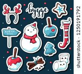 cute doodle hygge stickers....   Shutterstock .eps vector #1250191792