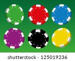 collection of coloured casino... | Shutterstock .eps vector #125019236
