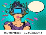 surprised woman in vr glasses.... | Shutterstock .eps vector #1250203045