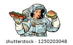 woman astronaut eats. cola  hot ... | Shutterstock .eps vector #1250203048