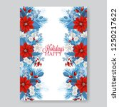poinsettia wedding invitation...   Shutterstock .eps vector #1250217622