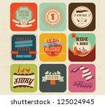 vector set vintage labels 3 | Shutterstock .eps vector #125024945