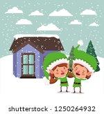 couple santa helpers in...   Shutterstock .eps vector #1250264932