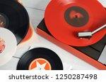 retro turntable vinyl record... | Shutterstock . vector #1250287498
