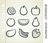 set of fruit icon in doodle... | Shutterstock .eps vector #125030018