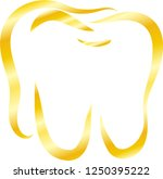 gold line drawing of tooth | Shutterstock .eps vector #1250395222