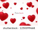 falling red hearts isolated on... | Shutterstock .eps vector #1250399668