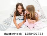 girls in cute pajamas spend... | Shutterstock . vector #1250401735
