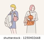 two women carrying a bag... | Shutterstock .eps vector #1250402668