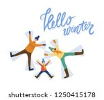 cheerful family laying on snow. ...   Shutterstock .eps vector #1250415178