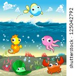 funny marine family in the sea. ... | Shutterstock .eps vector #125042792