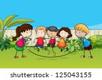 illustration of playing kids in ... | Shutterstock . vector #125043155