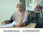a beautiful young hijab woman... | Shutterstock . vector #1250434555