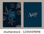 navy wedding invitation  floral ... | Shutterstock .eps vector #1250439898
