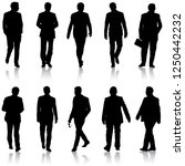 Set Silhouette Businessman Man...