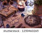 old tarot cards deck  runes and ... | Shutterstock . vector #1250463265