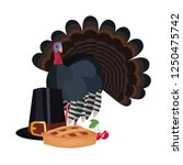 happy thanksgiving turkey and... | Shutterstock .eps vector #1250475742