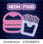fast food neon light label | Shutterstock .eps vector #1250486872