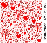 valentine seamless pattern with ... | Shutterstock .eps vector #1250498158