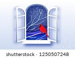 red cardinal in paper cut style.... | Shutterstock .eps vector #1250507248