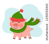 vector cute pig smile in green... | Shutterstock .eps vector #1250533342