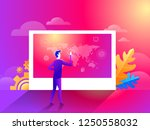 businessman pointing world map... | Shutterstock .eps vector #1250558032