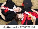 happy international students in ... | Shutterstock . vector #1250599168