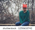 happy woman at wintertime.  | Shutterstock . vector #1250610742