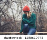 happy woman at wintertime.  | Shutterstock . vector #1250610748