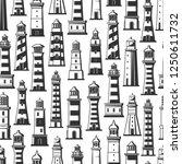 seamless pattern of lighthouses ... | Shutterstock .eps vector #1250611732