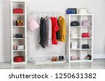 wardrobe with stylish bags and... | Shutterstock . vector #1250631382