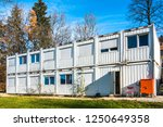 new gray mobile home container | Shutterstock . vector #1250649358