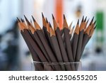 grey pencils in a glass | Shutterstock . vector #1250655205