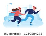 flat happy couple in winter... | Shutterstock .eps vector #1250684278