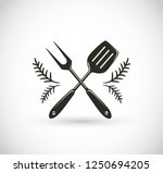 barbecue utensils crossed   bbq ... | Shutterstock .eps vector #1250694205