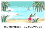 hand drawn seaside landscape.... | Shutterstock .eps vector #1250699398