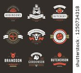 butcher shop logos set vector... | Shutterstock .eps vector #1250734318