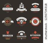 butcher shop logos set vector... | Shutterstock .eps vector #1250734318