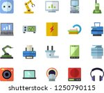 color flat icon set sockets...