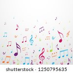 colorful music notes background | Shutterstock .eps vector #1250795635