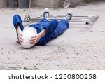 workplace accident at...   Shutterstock . vector #1250800258